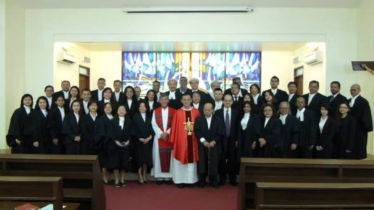 The legal fraternity in a group photo with Archbishop John Wong (front row, centre) and to his right, Fr Cosmas Lee. Also seen in picture are Event Coordinator Ruth Marcus (front row, seventh left) and Catholic Lawyers' Society of Kuala Lumpur Past President Francis Pereira (back row, 11th left).
