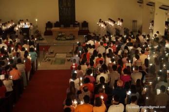 Sea of lights in the main Church seen from the choir loft.