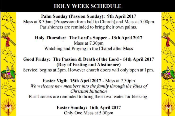 Holy Week Schedule 2017